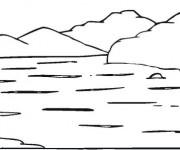 Coloriage et dessins gratuit Lac et montagne à imprimer