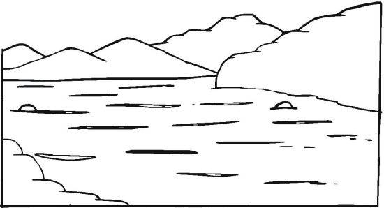 Coloriage lac et montagnes simple dessin gratuit imprimer for Imagenes de un estanque para colorear