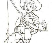 Coloriage Le petit pêcheur en Rivière