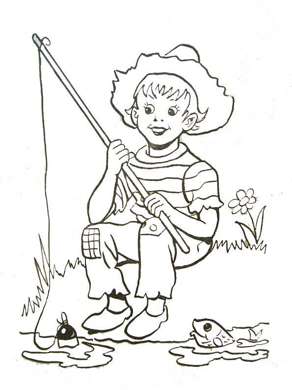 Coloriage et dessins gratuits Le petit pêcheur en Rivière à imprimer