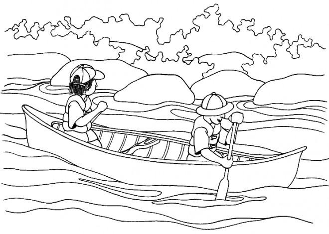 Coloriage et dessins gratuits Navire sur la Rivière à imprimer