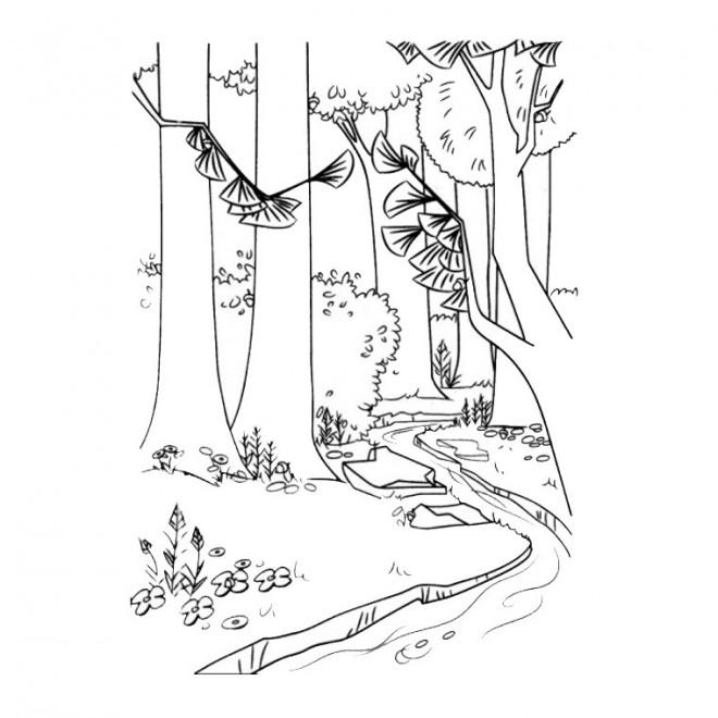 Coloriage et dessins gratuits Paysage de Forêt et rivière à imprimer