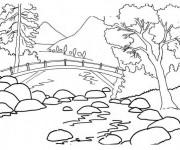 Coloriage Paysage de Rivière montagneuse