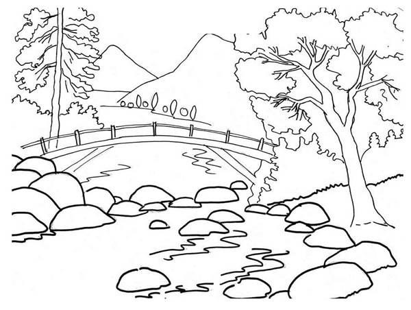Coloriage Paysage De Riviere Montagneuse Dessin Gratuit A Imprimer