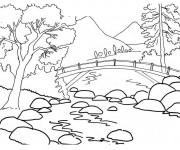 Coloriage Paysage Pont sur la Rivière