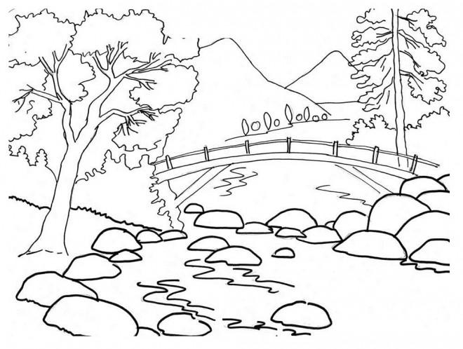 Coloriage et dessins gratuits Paysage Pont sur la Rivière à imprimer