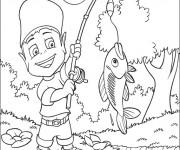 Coloriage pêche dans la rivière