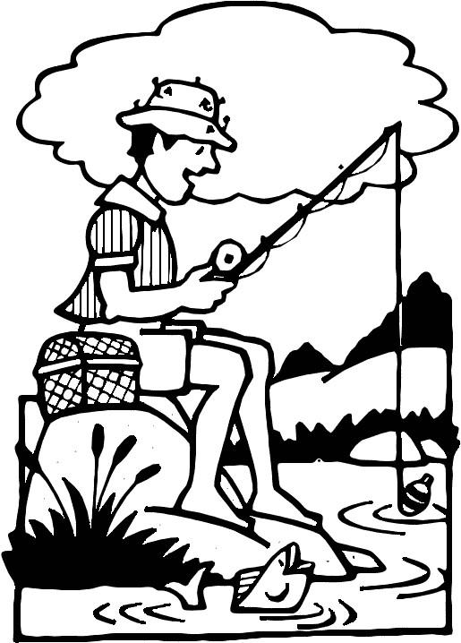 Coloriage et dessins gratuits Pêcheur et Rivière en Printemps à imprimer