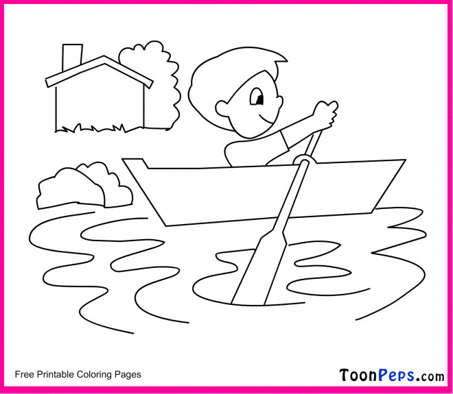Coloriage et dessins gratuits Petit enfant sur La Rivière à imprimer