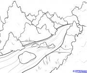 Coloriage et dessins gratuit Rivière dans la forêt à imprimer