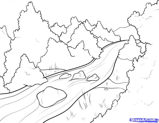 Coloriage et dessins gratuits Rivière dans la forêt à imprimer