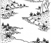 Coloriage Rivière en noir et blanc