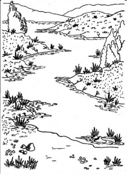 Coloriage et dessins gratuits Rivière en noir et blanc à imprimer