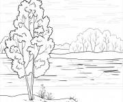 Coloriage Rivière et la Nature