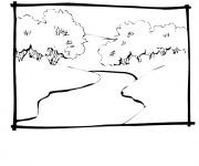 Coloriage Rivière et les arbres