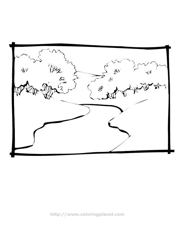 Coloriage et dessins gratuits Rivière et les arbres à imprimer