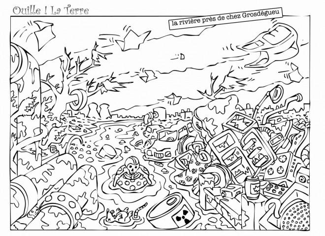 Coloriage et dessins gratuits Rivière et Pollution à imprimer