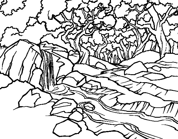 Coloriage et dessins gratuits Rivière et rochers à imprimer