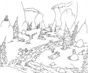 Coloriage Rivière passant par la forêt