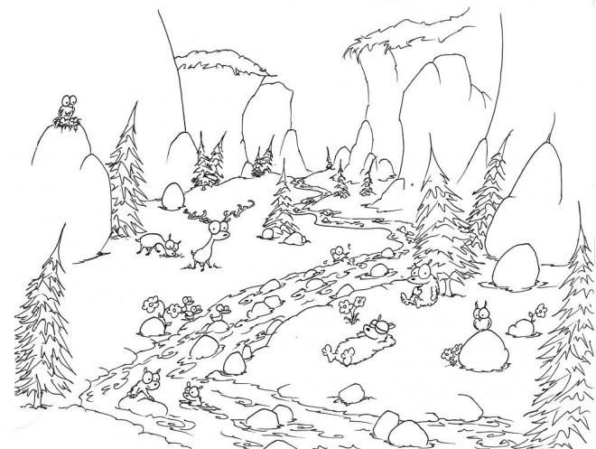 Coloriage et dessins gratuits Rivière passant par la forêt à imprimer