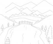 Coloriage Rivière sous les montagnes
