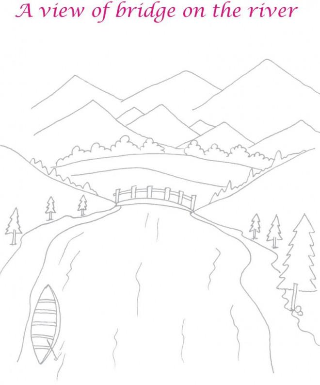 Coloriage et dessins gratuits Rivière sous les montagnes à imprimer
