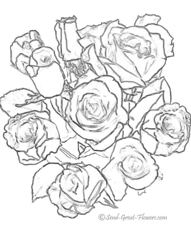 Coloriage Bouquet De Roses Réaliste Dessin Gratuit à Imprimer