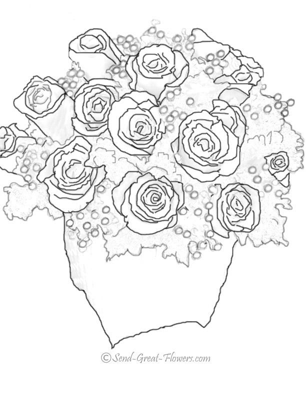 Coloriage Bouquet De Roses Rouges Et Blanches Dessin Gratuit A Imprimer