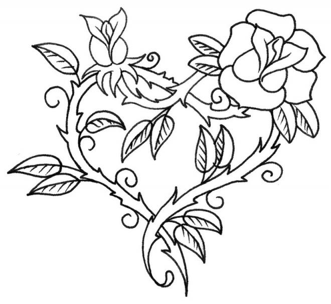 Coloriage et dessins gratuits Rose  d'amour rouge à imprimer