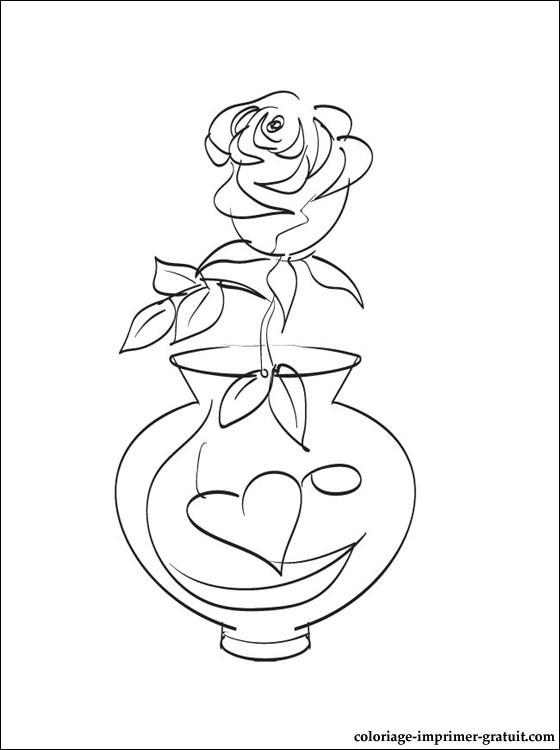Coloriage Rose dans Vase en coeur dessin gratuit à imprimer