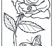 Coloriage Rose et Papillon