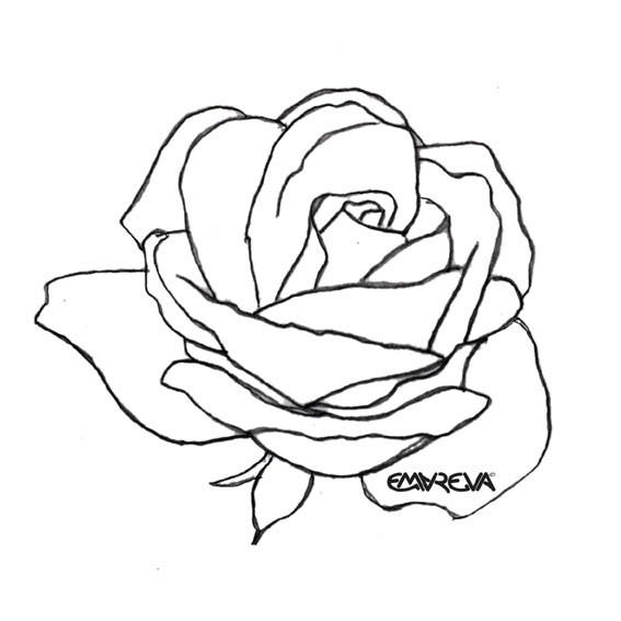 Coloriage et dessins gratuits Rose rouge au crayon à imprimer