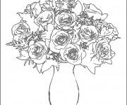 Coloriage Roses dans une vase