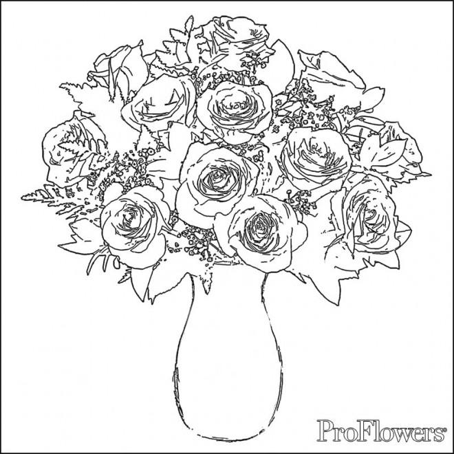 Coloriage et dessins gratuits Roses dans une vase à imprimer