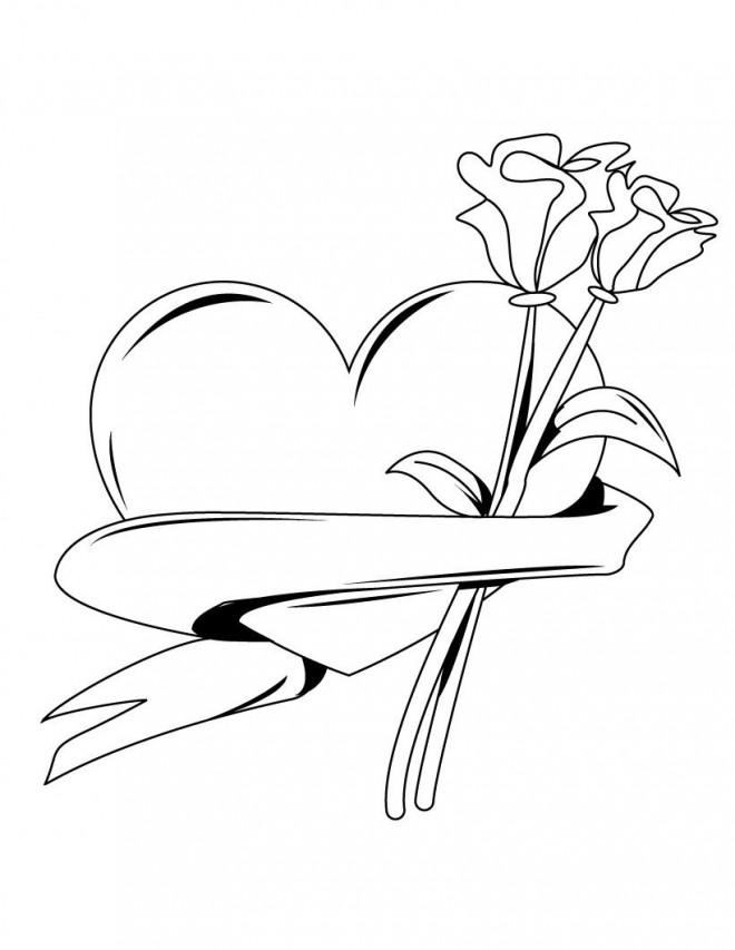 Coloriage De Coeur En Couleur.Coloriage Roses Et Coeur En Couleur Dessin Gratuit A Imprimer