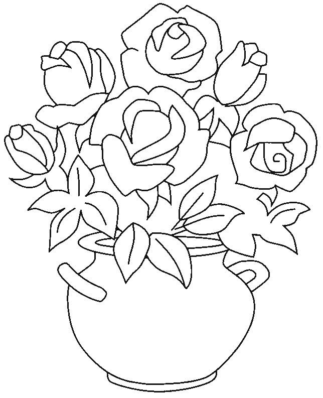 Coloriage et dessins gratuits Roses et vase à imprimer