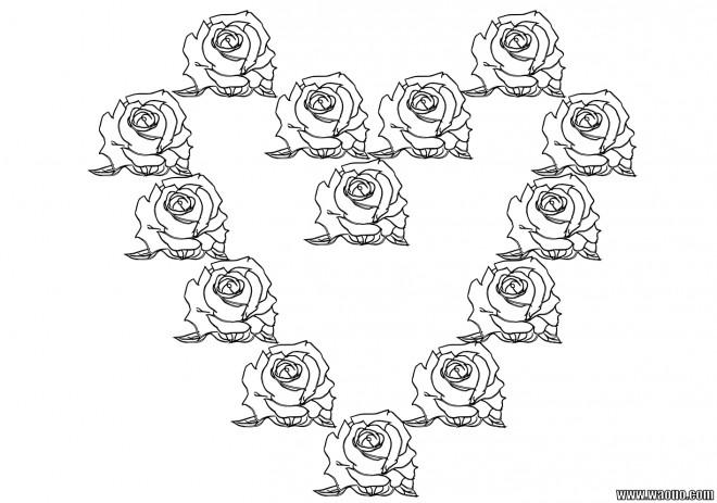 Coloriage et dessins gratuits Roses formant un Coeur à imprimer