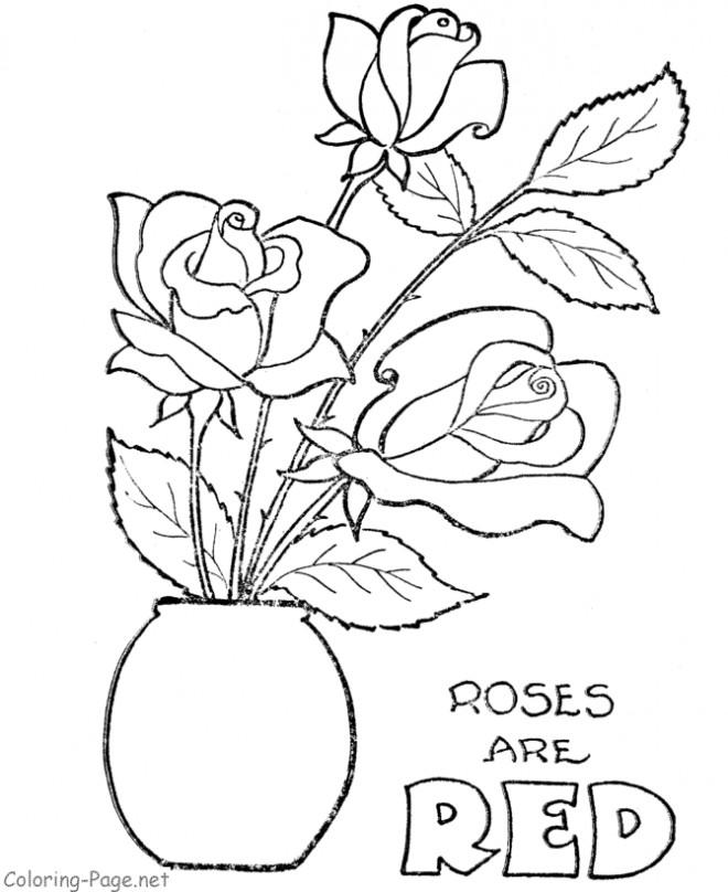Coloriage et dessins gratuits Roses rouges dans La vase à imprimer