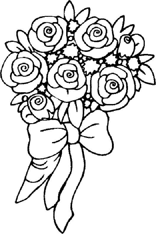 Coloriage et dessins gratuits Roses rouges  en bouquet à imprimer
