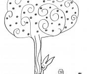 Coloriage Arbres et Fleurs en Automne