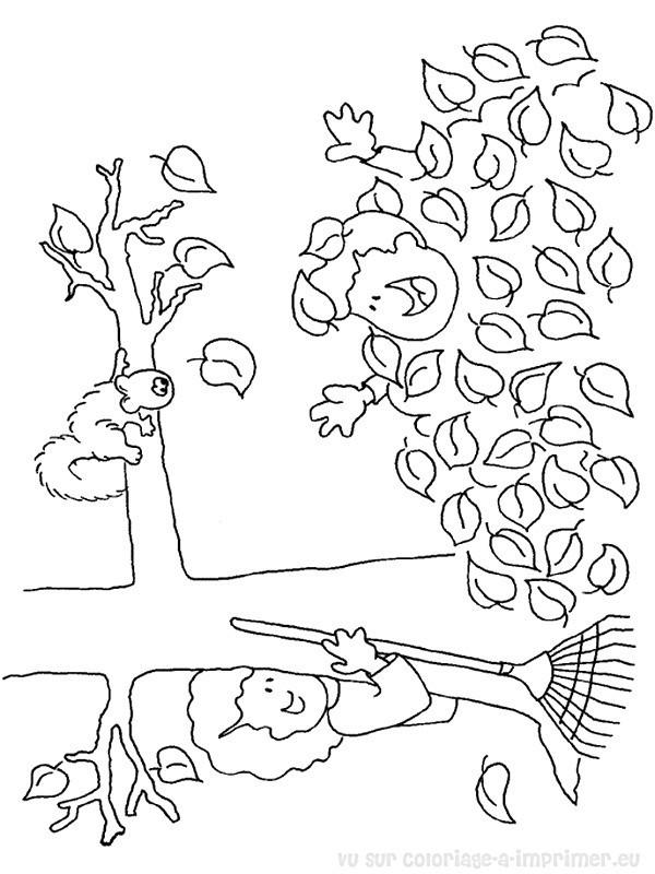 Coloriage et dessins gratuits Automne humoristique à imprimer