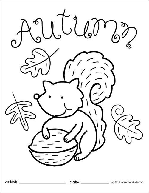 Coloriage et dessins gratuits Ecureuil et Automne à imprimer
