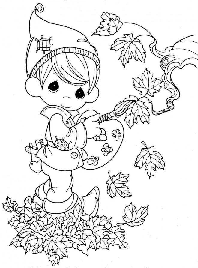 Coloriage et dessins gratuits Enfant mignon et  L'Automne à imprimer