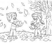 Coloriage Enfants collectent les feuilles d'arbres