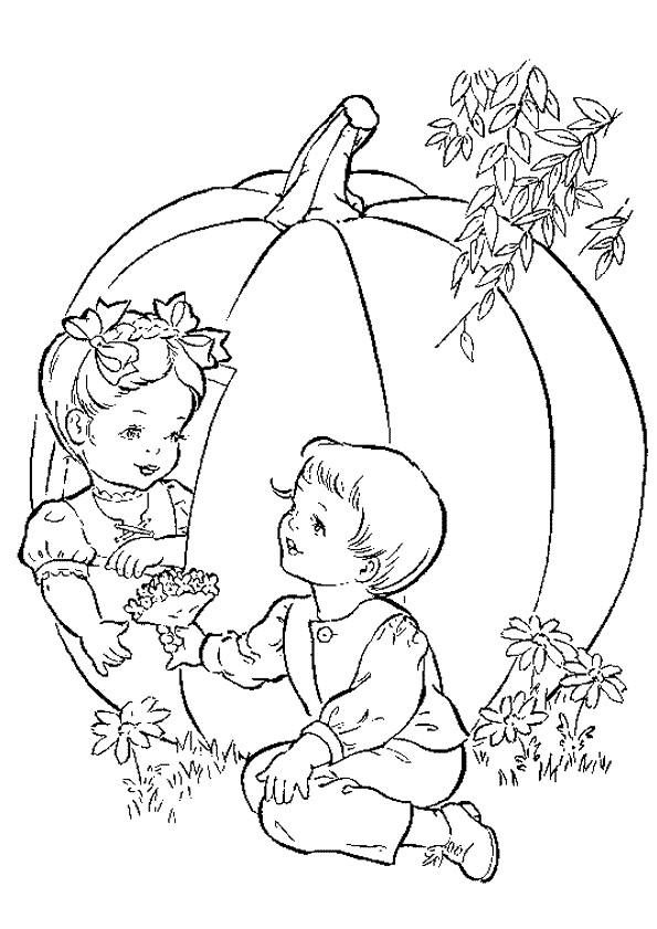 Coloriage et dessins gratuits Enfants et Grosse Citrouille à imprimer