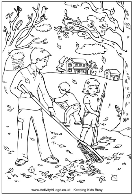 Coloriage et dessins gratuits Famille au jardin en Automne à imprimer
