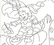 Coloriage et dessins gratuit Feuilles qui tombent en Automne à imprimer
