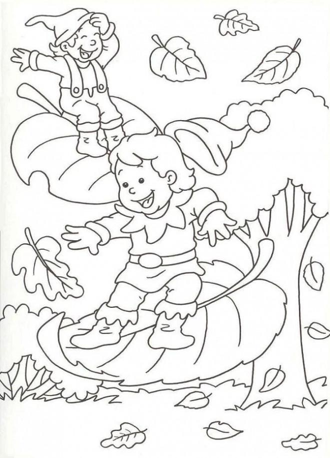 Coloriage feuilles qui tombent en automne dessin gratuit imprimer - Coloriage paysage automne ...
