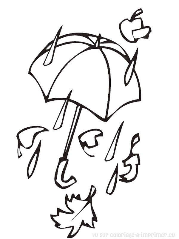 Coloriage et dessins gratuits La pluie Automne à imprimer