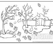 Coloriage et dessins gratuit Le Vent Automne à imprimer